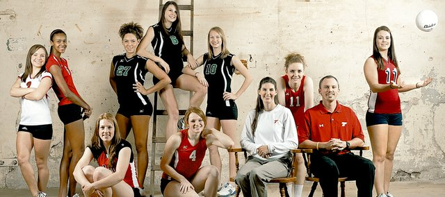 Members of this year's Lawrence Journal-World all-area volleyball team, from left, are: Back row - Emily Bracciano and Tayler Tolefree, Lawrence High; Taylor Manning, Melanie Chaussee and Brooke Carter, Lawrence Free State; and, at far right, Nikki Snider, Eudora; front row - Kara McFarland, Ottawa; and Tonganoxie senior Tracie Hileman, THS co-coach Tiffany Parker, THS senior Sami Franiuk and THS co-coach Brandon Parker.