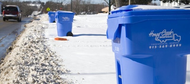 New 95-gallon trash carts are popping up along curbs throughout Tonganoxie. Honey Creek Disposal recently was awarded the city's trash pickup contract and has been delivering the carts to residential customers in anticipation of taking over the city trash service beginning Jan. 2.