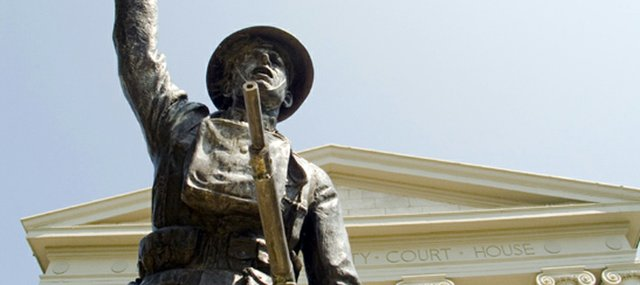 A World War I doughboy statue stands outside the Leavenworth County Courthouse.