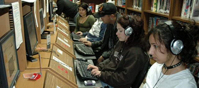 Library patrons surf the Internet and work on homework at the Lansing Community Library, 108 S. Second St. The library is moving from its location at Lansing Community Building to its new, larger space across the street from City Hall.