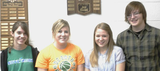 Four De Soto High School students will get a chance to play in the Kansas Music Educators Association 1A-4A All-State Band. Melissa Just will play seventh-chair flute, Rebekah Gulley will play ninth-chair clarinet, Jenna Hodges will play 10th-chair clarinet and Scott Ireland was named the first-alternate for mallet percussion.