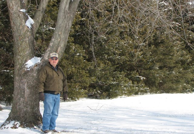 Ronnie Kenyon began planting this tree row as a wind break in 1974; now, 30 years later, he's being honored with a Leavenworth County 2007 Kansas Bankers Association Conservation Award for windbreaks.