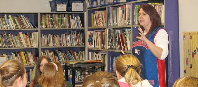 "Tonganoxie author Lisa Harkrader speaks to a group of Basehor-Linwood Middle School students about her award-winning book, ""Airball:  My Life in Briefs"" and the progression of her writing career. Harkrader was in town  Friday afternoon. See the Schools section for the full story."