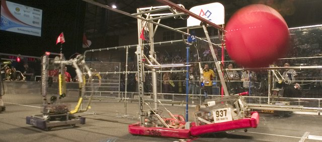 The FIRST Robotics Competition Greater Kansas City Regional was Saturday at Hale Arena in Kansas City, Mo. Schools from four states competed in the regional playoff, with winners from here advancing to national finals in Atlanta.
