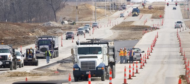 Traffic slows in a construction zone on State Avenue near Kansas Highway 7. Beginning today,  ramps on and off K-7 at U.S. Highway 24-40, or State Avenue, will be closed for most of the rest of the year for construction of a new interchange.