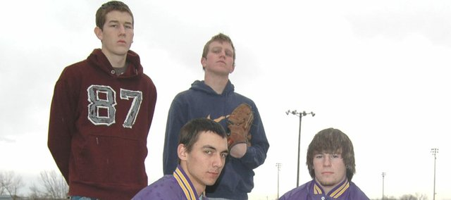 McLouth High baseball seniors (clockwise from top left) Mike Rome, Mark Stewart, Ryan Smith and Brian Kabus have seen good times and bad at MHS. The Bulldogs had their first winning season (9-5) in 2007.