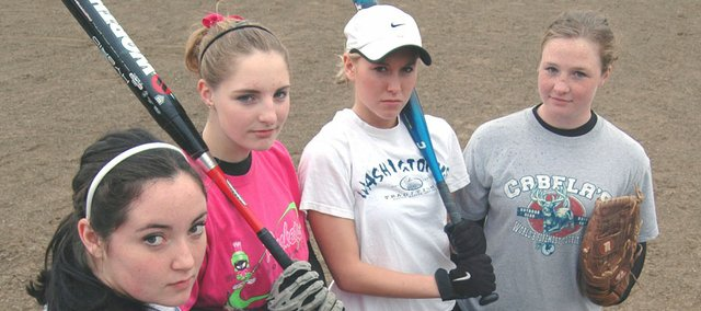 The McLouth High softball team went 20-1 last year and is looking forward to an even better run in 2008. With (from left) Lezley Lawson, Kendall Patterson, Abby Annis and Samantha Farris all returning, expectations are high.