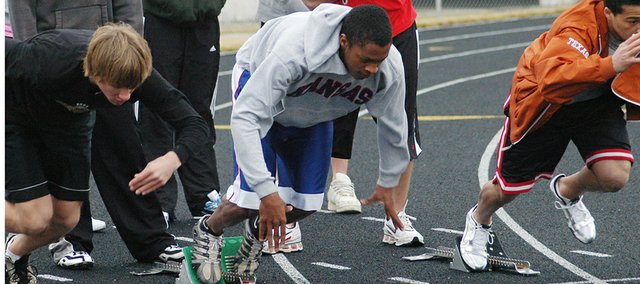 Jamell Townsend busts out of the blocks while running sprints in practice. Townsend, a junior, is expected to be competitive in the long jump, triple jump and sprints.