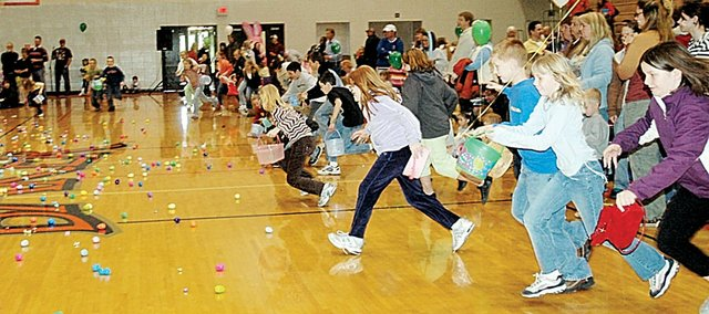 Last year's Rainbow Experience Preschool Easter Egg Hunt was moved inside Collins Gym, because of inclement weather. Event coordinators hope to keep the egg hunt outside Saturday morning.