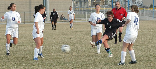 Senior Danielle Price takes a shot on goal against Gardner Edgerton. Neither team was able to score in the game, and the 0-0 tie moved the Wildcats' record to 0-1-1.