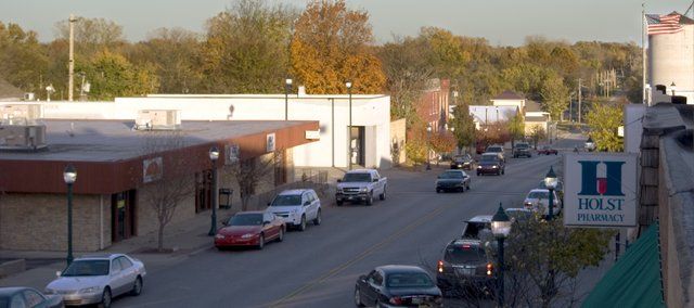 The sun begins to set over downtown Tonganoxie. 