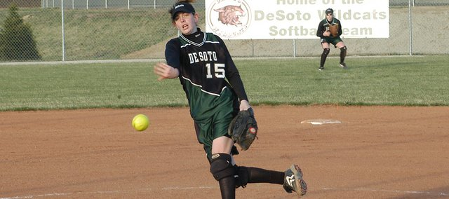 De Soto pitcher Katie Williams delivers a pitch against Spring Hill. The Wildcats lost, 8-2.