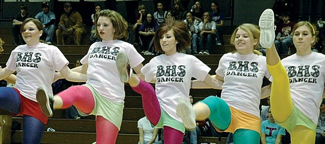 Members of the Baldwin High School pom squad dance during the Baldwin Invitational Tournament in January. The squad recently had success at a couple different dance festivals.