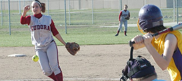 Mackenzie Salzman delivers a pitch to the plate Tuesday against Spring Hill. The Cardinals swept the Broncos, and Salzman did the majority of the pitching for Eudora.