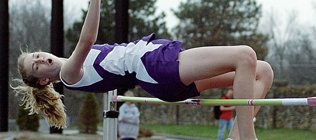 Baldwin Junior High School seventh grader Monica Howard won the high jump Wednesday at the Bulldogs' home meet as she clears 4 feet, 11 inches. Results from the meet will be posted online.