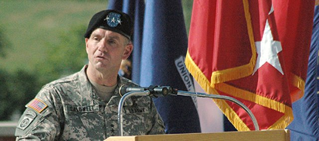 Lt. Gen. William B. Caldwell IV speaks at a 2007 ceremony welcoming him as the new commander of Fort Leavenworth.