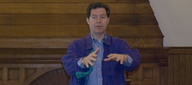 U.S. Sen. Sam Brownback, R-Kan., discusses issues Friday with local residents at the Riverfront Community Center in Leavenworth.