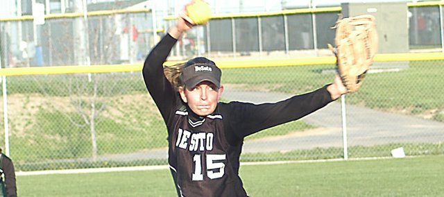 De Soto sophomore Katie Williams delivers a pitch to home plate in a game against Gardner-Edgerton Tuesday. Williams pitched the second game and got the win, completing the sweep for De Soto. She had 15 strikeouts and threw a complete game.