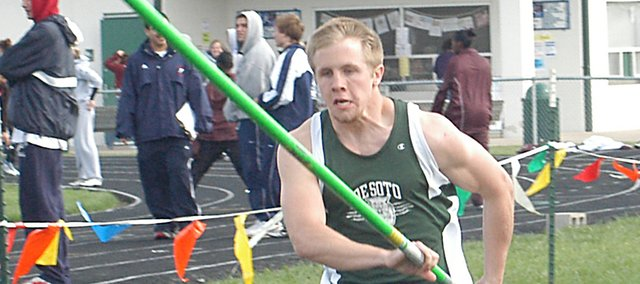 De Soto pole vaulter Shane Hefner approaches the pit at the De Soto Invitational meet. Hefner finished tied for third place, with a vault of 10 feet.