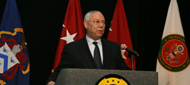 Colin L. Powell, former Secretary of State and Chairman of the Joint Chiefs of Staff, addresses more than 400 attendees at a dinner banquet hosted by the Command and General Staff College Foundation in Kansas City, Mo., April 29.