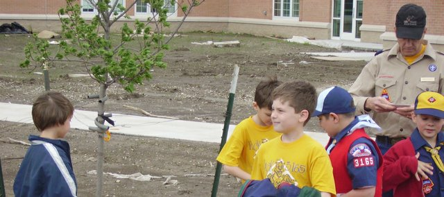 "Members of Cub Scout Pack 3165 dedicate a newly planted tree for Arbor Day at the new Lansing Elementary School. The pack members gathered in May 2008 to dedicate the tree. The National Arbor Day Foundation said Lansing again qualified to be a ""Tree City USA."""