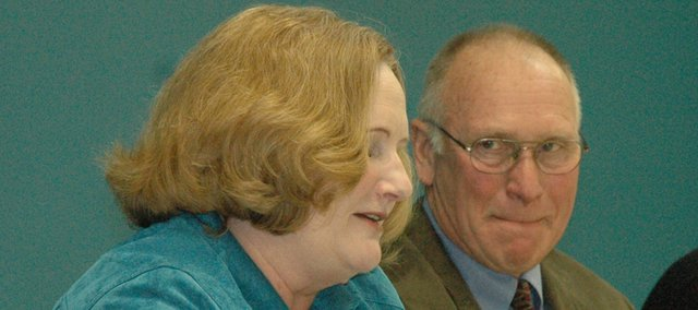 State Rep. Candy Ruff, D-Leavenworth, left, will not seek re-election to her 40th District seat. Ruff, pictured in January with State Sen. Roger Pine at a legislative breakfast in Lansing, is leaving to pursue a profession in academia.