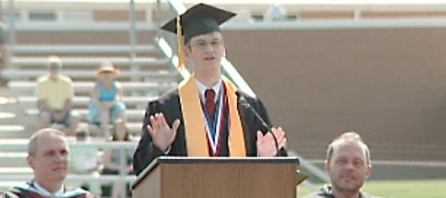 Lansing High School valedictorian Hal Laurence delivers a speech at the 2008 LHS commencement.