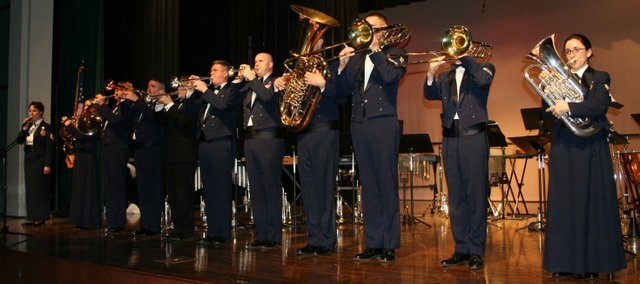 "Members of ""Brass in Blue,"" a 10-piece, patriotic brass band made up of Air Force active duty personnel from Offutt Air Force Base in southeastern Nebraska, perform in Minnesota during the group's February 2008 tour of the state. The ensemble will be performing a free concert at Leavenworth High School, Sunday at 3 p.m. to commemorate the Memorial Day holiday."