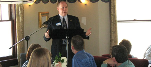"Rep. Kenny Wilk, R-Lansing, gives a ""state of the state"" address at a Tonganoxie Chamber of Commerce meeting Tuesday, May 20, at Amanna Elan Bed and Breakfast Inn in Tonganoxie. Wilk, who will vacate his 42nd District seat in January thanked Tonganoxie citizens for their support over the past 16 years and discussed statewide issues, including health care, immigration and energy policy."