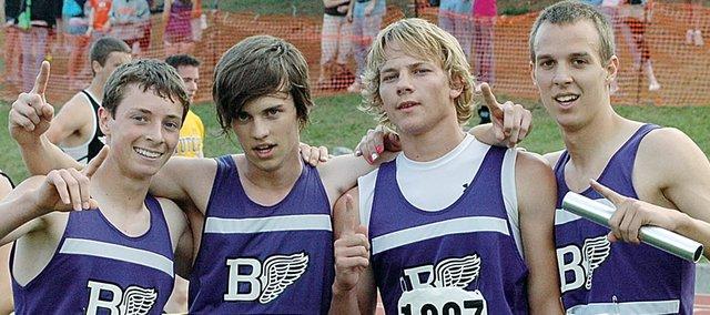 Baldwin High School won the Class 4A boys' 1,600-meter relay Saturday night to end the state meet. BHS ran 3:25.42. Team members were, from left, freshman Carson Barnes, junior Ryan Kennedy, senior Dustin Schiller and senior Kyle Smith.