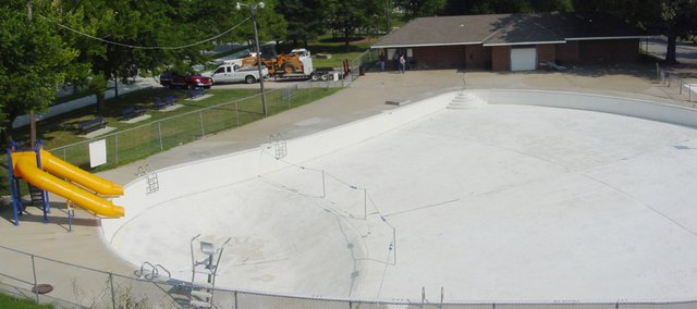 Tonganoxie Fire Department used a ladder truck to take a series of photos that were pieced together to show a panoramic view of the former swimming pool before it was torn down.