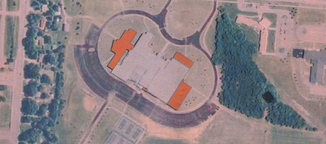 An aerial view of De Soto High School in enhanced to show the location of the new additions the bond package approved by the USD 232 board Monday.