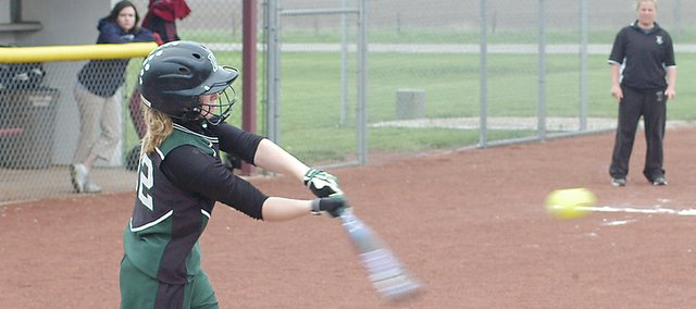 Hannah Jokisch takes a swing at a pitch against Eudora. Jokisch, a freshman, had a .356 on base percentage, and a fielding percentage of .929 playing the majority of the year in center field.