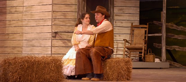"Curly, played by Robert Hingula of Shawnee, sings ""Surry with the Fringe on Top"" to Laurey, played by Alyssa Couturier in Theatre in the Park's production of ""Oklahoma!"""