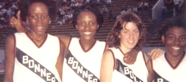 A lot has changed in Kansas during the past 28 years. One thing that hasn't is the Class 5A girls 1,600-meter state record. It was set in 1980 by Bonner Springs High School runners, from left in above photo, Cheryl Chambers, Nina Kimbrough, Carol McGraw and Viesta Suffren.