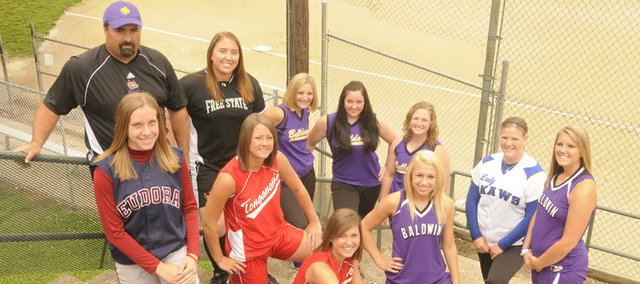 The Lawrence Journal-World 2008 All-Area softball team is made up of (from left to right): front row - Evan Folks, Eudora High; Lindsey Himpel and Lauren Himpel, Tonganoxie High; Haley Finucane and Alex Zordel, Baldwin High; back row - coach Ballard Patterson, McLouth High; Catherine Smith, Free State High; Kendall Patterson, Lezley Lawson and Samantha Farris, McLouth High; and Courtney Kasson, Perry-Lecompton High..