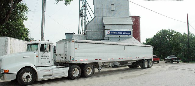 The first load of wheat was brought to the Baldwin Feed Co. elevator Monday morning. Leonard Heffner had cut the wheat over the weekend west of Baldwin City.