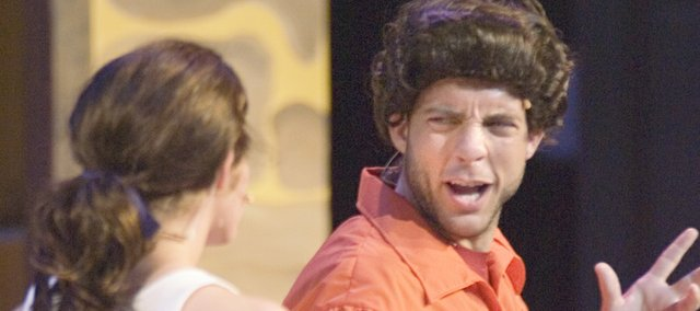 "Victor Gossage (right) plays the character ""Lefou"" as he rehearses a scene with Jordan Houghton who plays ""Belle"" in Theatre in the Park's production of Beauty and the Beast."
