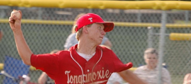 Post 41 pitcher Brett Bailes, like a number of players on the team's roster, hopes to parlay his experience this summer into future success as a player at Tonganoxie High.
