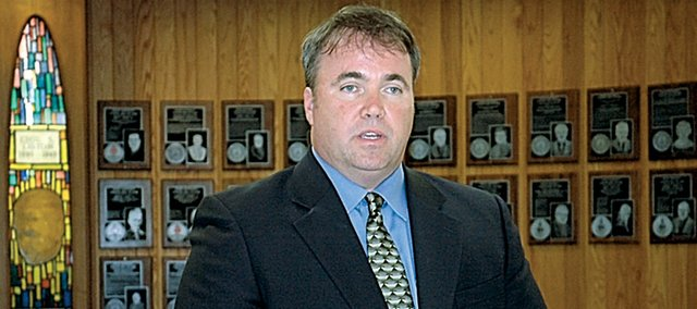 Green Bay Packers head coach Mike McCarthy and the Packers recently donated $100,000 to his alma mater, Baker University. McCarthy is shown here at his induction ceremony for the Baker Athletic Hall of Fame in October 2007.