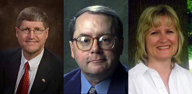 State Sen. Mark Gilstrap, left, D-Kansas City, Kan., faces a primary challenge from Kelly Kultala, right. Senate Minority Leader Anthony Hensley, D-Topeka, and Democratic Gov. Kathleen Sebelius, not pictured, have endorsed Kulata's bid to unseat the three-term incumbent.