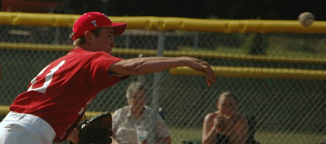 Post 41 pitcher Kyle Newton, pictured in this Mirror file photo, threw two innings of relief in Tonganoxie's 16-6 victory against the Lansing Cubs on Thursday.