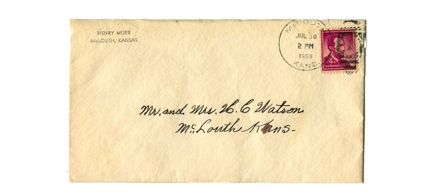 An envelope from Henry Murr to Mr. And Mrs. H.C. Watson dated July 30, 1959. Inside was a letter thanking the Watson's for a fine Threshing Bee. McLouth had it's first Threshing Bee in 1957.
