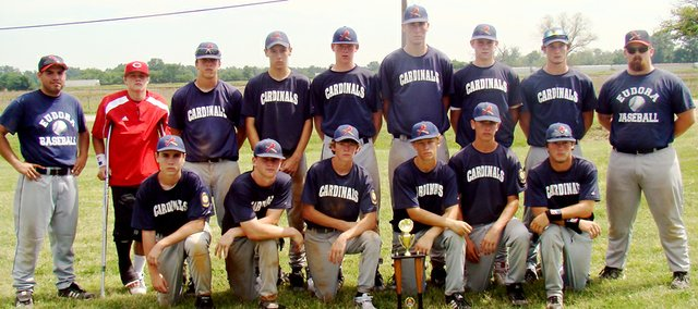 The Eudora Cardinals American Legion team qualified for state by ousting Bishop Ward in the championship game of their zone tournament. Team members pictured in front row, from left are Mac Hartwell, Zach Bryant, Jackson Wiley, Kyle Swanson, Chase Brecheisen and Bryan Dudley. Pictured in back row are head coach Paul Houle Evan Cleveland, Max Campbell, Tyler Beebe, Craig Harper, Michael Bricker, Drew Noble, Derek Scrimsher and assistant coach Patrick Johnson. Not pictured is assistant coach Steve Swanson.