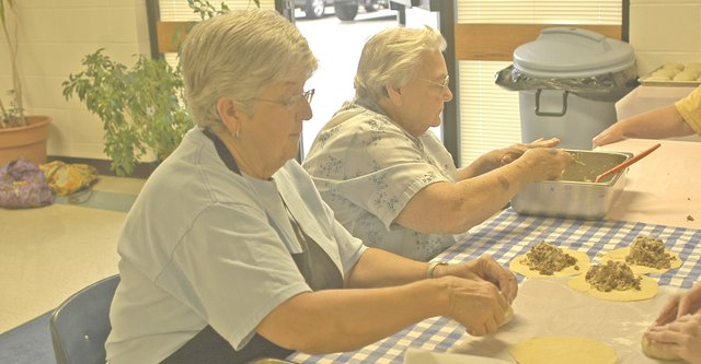 Members of the De Soto United Methodist Women had a workday Aug. 10 to prepare bierocks for the De Soto Days Festival. Their bierocks have proven to be very popular at the festival.