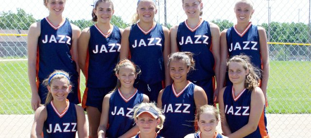 The KC Jazz fastpitch softball team finished second at the USSSA 13-and-under World Series. Team members are, front row (from left): Brooke Grable, Jillian Jobe; second row: Ellie Williams, Micheala Taylor, Cassie Manes, Megan Dike; third row: Samantha O'Brien, Lauren Leiker, Cheyenne Rankin, Bethany Sullinger and Makenzie Skeens.