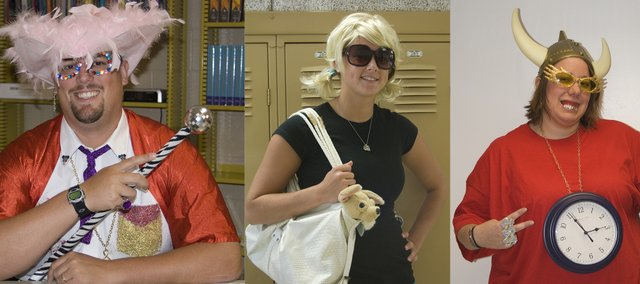 From left: No, that's not Sir Elton John. Rather, it's THS instructor Mark Padfiield as the famed British singer. Faculty and students were dressed as Hollywood celebrities Tuesday as part of Spirit Week festivities. THS senior Lauren Himpel dresses as Paris Hilton on Tuesday. Each day during Spirit Week is a different theme. Instructor Lindsey Graf is Flavor Flav. Several homecoming activities are planned through Saturday.