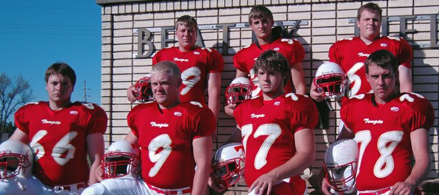 Tonganoxie High football seniors (front row) James Edwards, Zack Robinson, Shawn Roberts, Jamie Everett, (back row) Clint Kissinger, Boomer Carey and Bill Seymour lead the Chieftains as THS opens its 2008 season on Friday, playing host to Prairie View at 7 p.m. at Beatty Field.
