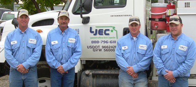 Leavenworth-Jefferson Electric Cooperative employees Greg Kramer, Winchester, Ken Ottensmeier, McLouth, and Tonganoxie residents Zane Peak and Jory Adkins left the area on Sept. 5 and headed to Louisiana to assist in Hurricane Gustav recovery efforts.