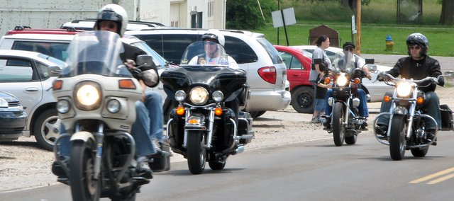 Bikers return to the Bob Wiley Memorial Veterans of Foreign Wars Hall in Basehor after a VFW motorcycle ride fundraiser June 14. The Basehor VFW will be hosting another ride this weekend.